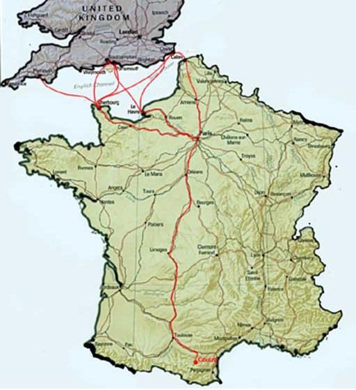 Travelling to the South coast of France from the UK - map from             London to Couiza