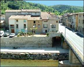 View over the river Salz, joining the Aude further down-river, near a good river swimming spot